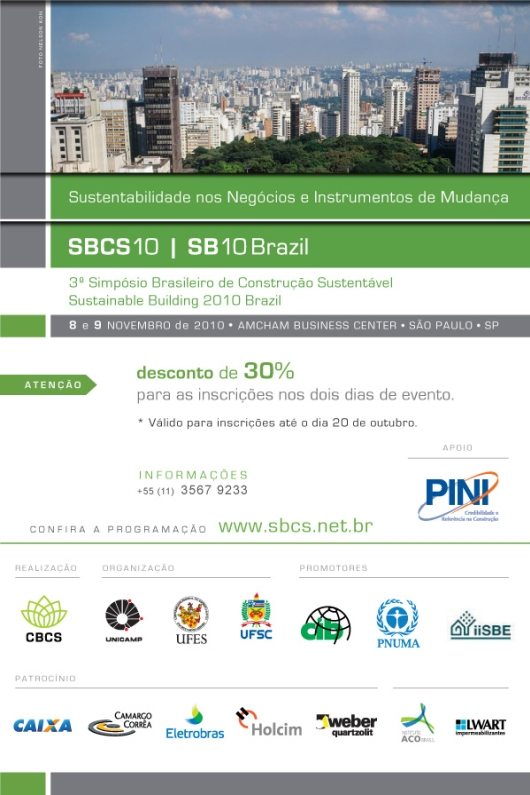 Circuito Arq+Decor SBCS 3º Simpósio Brasileiro de Construção Sustentável - Inscrições Abertas NEWS